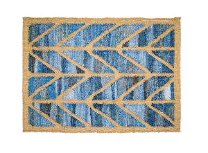 Coastal style upcycled denim blue and sustainable dark jute door mat in Herringbone pattern.