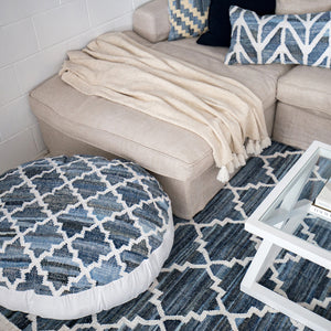 Blue and White trellis patterned large floor cushion