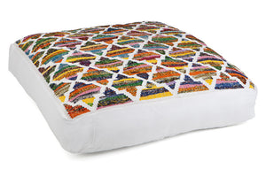 Colourful patterned large floor cushion