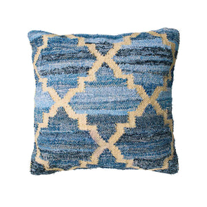Hamptons style denim blue and sustainable jute square cushion in lattice pattern.