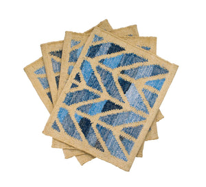 Coastal style upcycled denim blue and sustainable jute table runner in herringbone pattern.