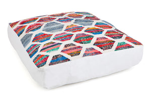 Colourful honeycomb patterned large floor cushion