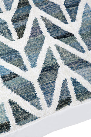 Blue and white herringbone pattern large floor cushion
