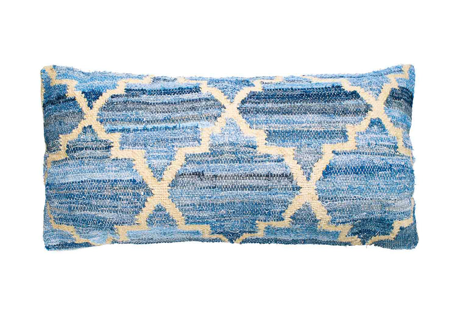 Hamptons style denim blue and sustainable jute rectangle cushion in lattice pattern.