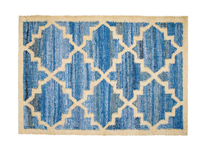 Hamptons style upcycled denim blue and sustainable jute door mat in lattice pattern.