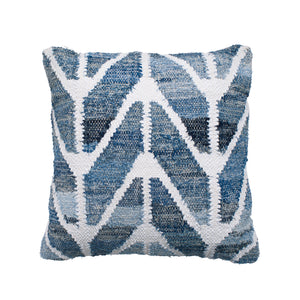 Coastal style upcycled denim blue and white cotton square cushion in herringbone pattern.