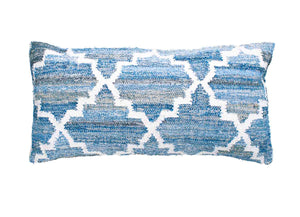 Hamptons style denim blue and white rectangle cushion in lattice pattern.