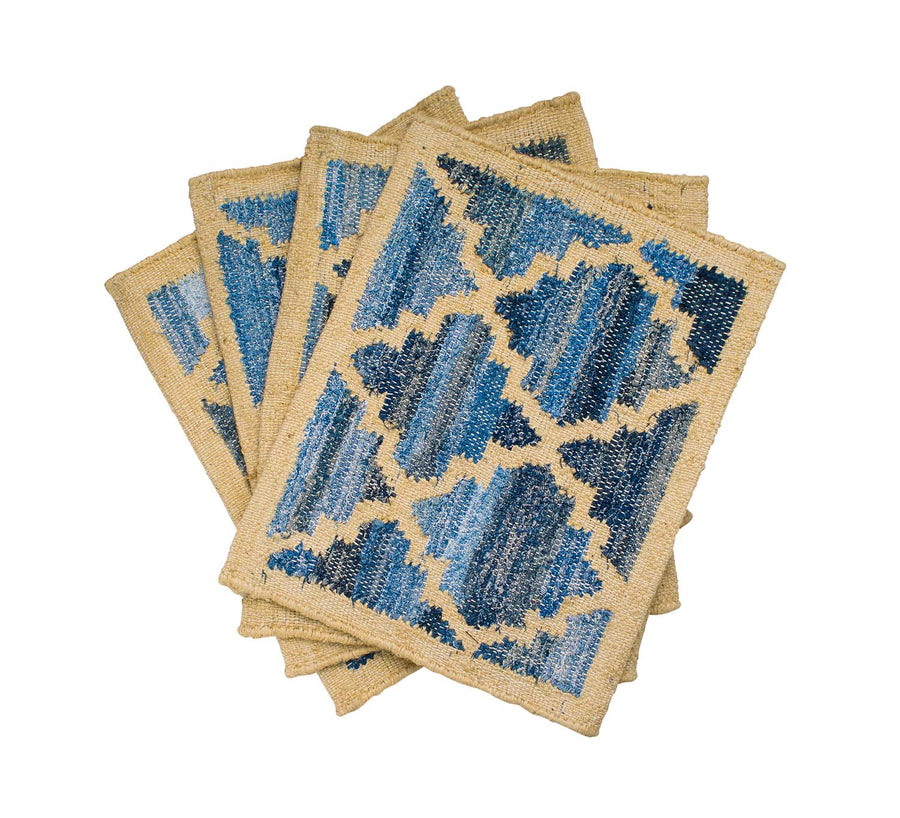 Hamptons style upcycled denim blue and sustainable jute set of placemats in lattice pattern.