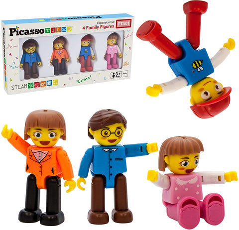 4 Magnetic Figure Family Action Figures by Picasso Tiles # PTA01