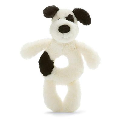 Bashful Black & Cream Puppy Ring Rattle by Jellycat