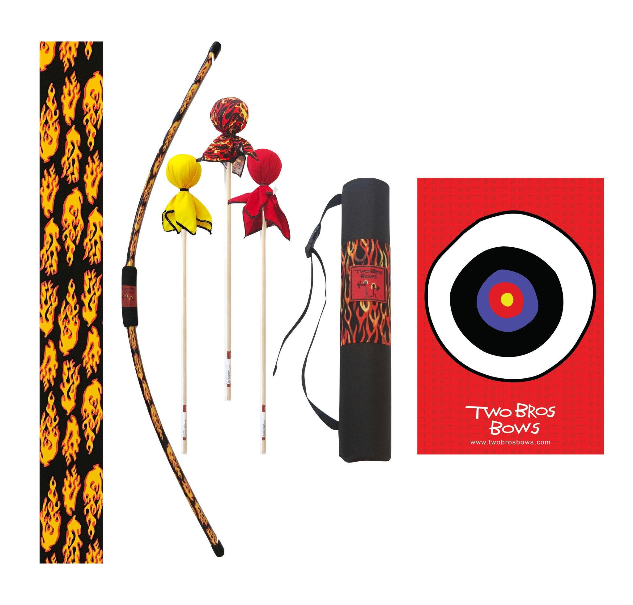 Flame Bow Deluxe Set, 3 Arrows- Flame, Yellow and Red, Flame Quiver Bag and Small Bullseye by Two Bros Bows