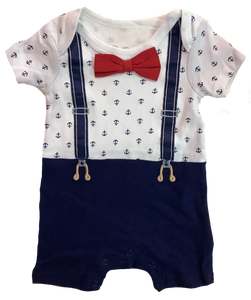 Navy Sailor Baby Romper with Suspenders and Bowtie