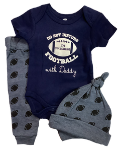 """Do Not Disturb - I'm Watching Football with Daddy"" Clothing Set"