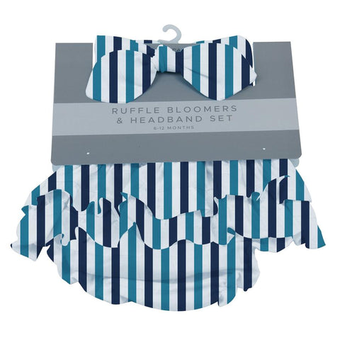 6-12 Months Ruffle Bloomers & Headband Set- Blue & White Stripes by Newcastle Classics