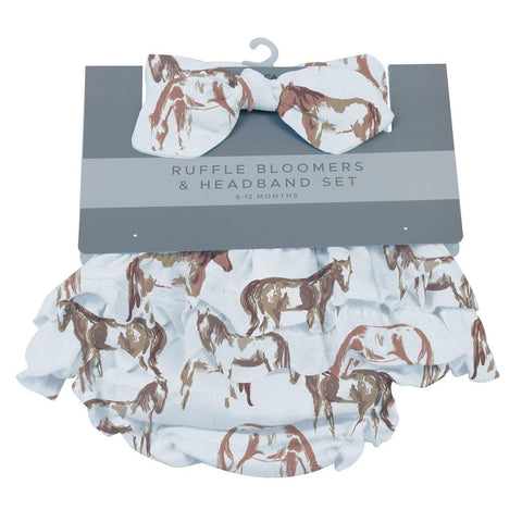 6-12 Months Ruffle Bloomers & Headband Set- Wild Horses by Newcastle Classics