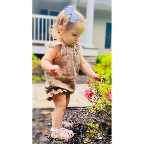 Frill Trimmed Taupe Organic Cotton Romper