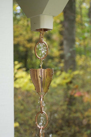 6 Cup Crocus Pure Copper 8.5 ft. Rain Chain