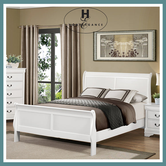 Homelegance White Mayville Sleigh Bed - Queen Size