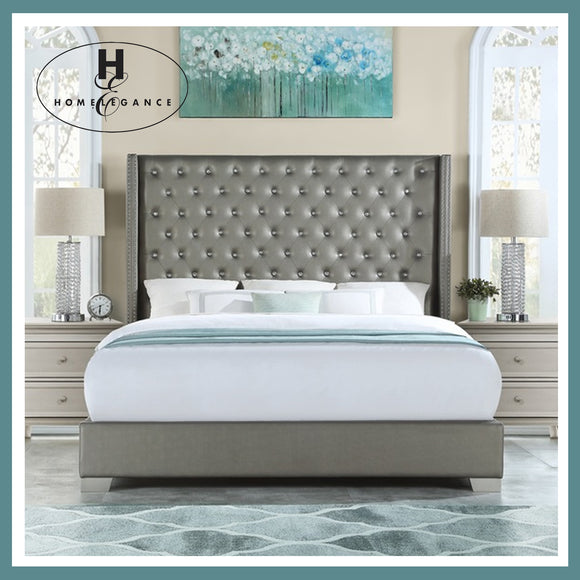 Homelegance Queen Size Silver Diamond Bed
