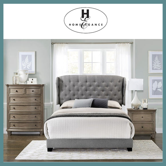 Homelegance Queen Size Gray Wing Tufted Bed