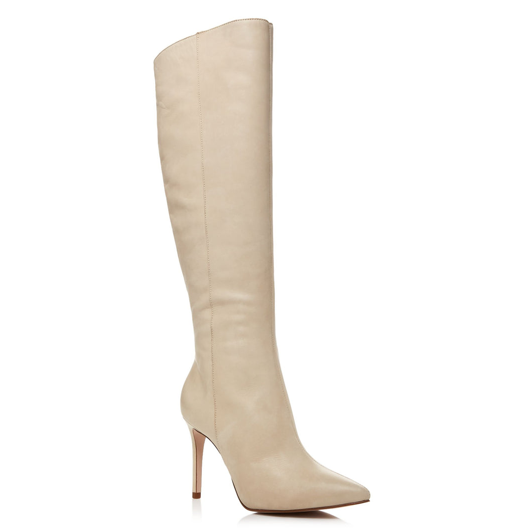 Aqua Women's Ivory Leather Indiala High Heel Tall Boots