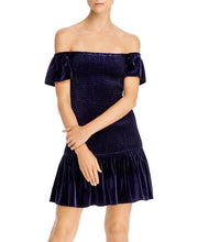 Load image into Gallery viewer, Aqua Women's Navy Smocked Velvet Off The Shoulder Dress