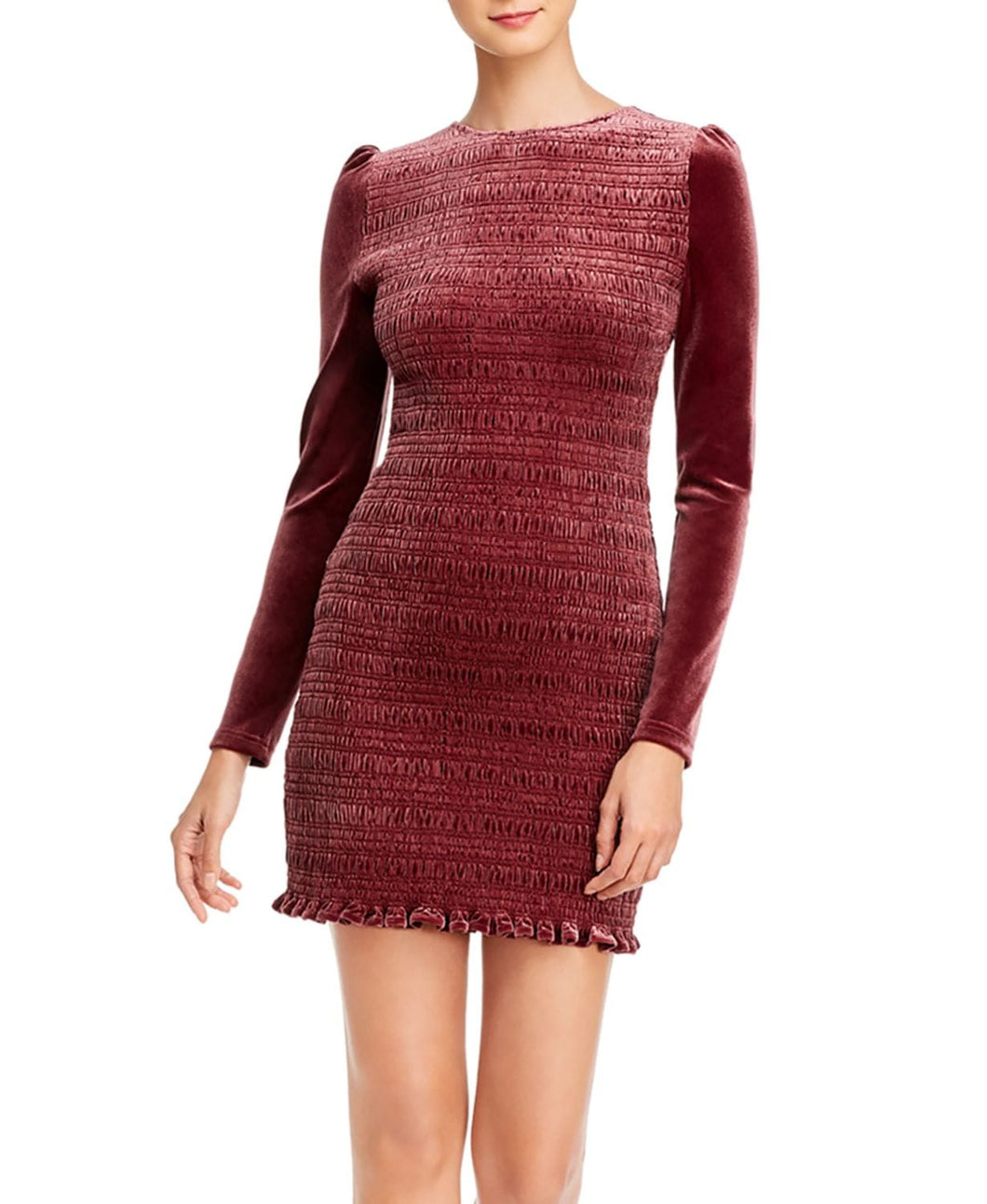 Aqua Women's Wine Velvet Smocked Puff Sleeve Mini Dress