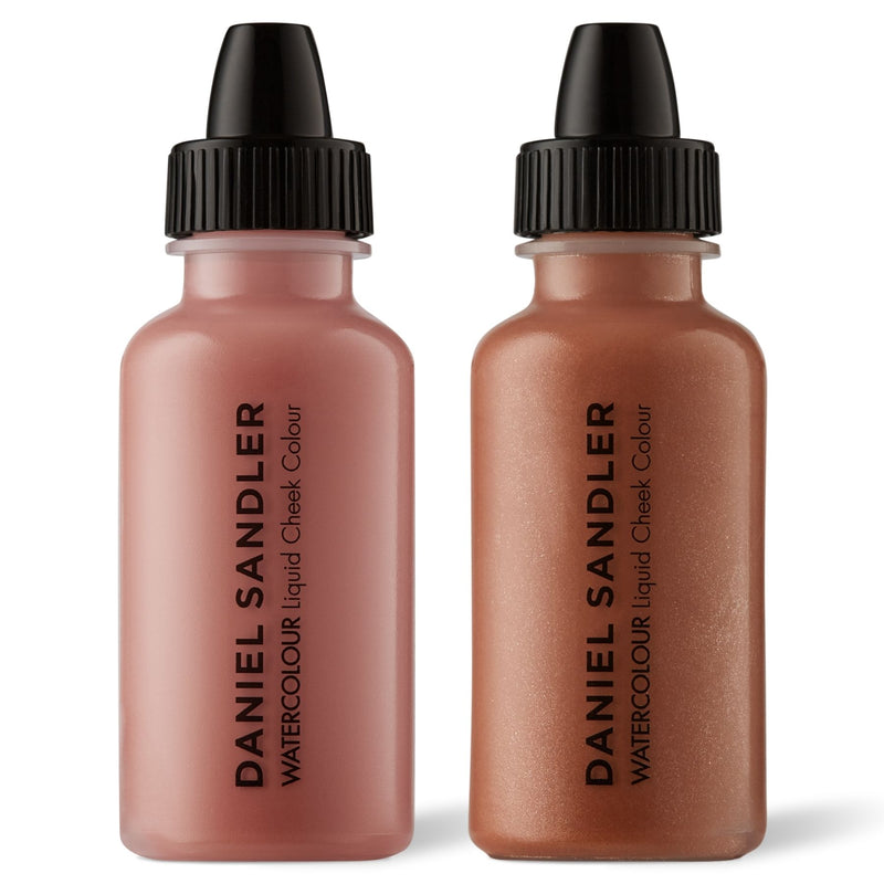 Daniel Sandler Watercolour Liquid Matte Blush & Illuminator Duo - Caress & Golden Glow