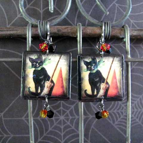 Black Cat Scrabble Tile Earrings