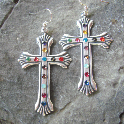 Cross Earrings - Swarovski Rhinestones Southwest Cowgir