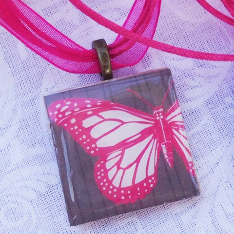 Friendship Pendants, Pink Butterfly, Two Pendant Set