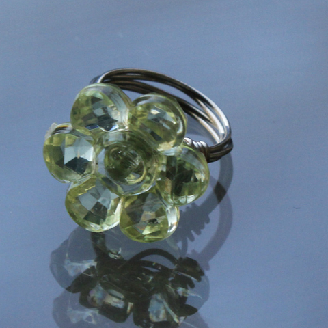 Green flower wire wrapped ring