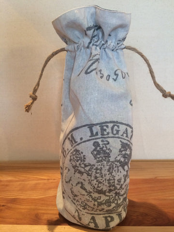 Naples Italian Linen Wine Bottle Gift Bag