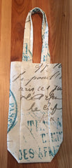 Paris France Canvas Wine Bottle Gift Bag