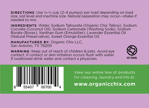 Organic Chix Laundry Soap 96oz Spout Pack