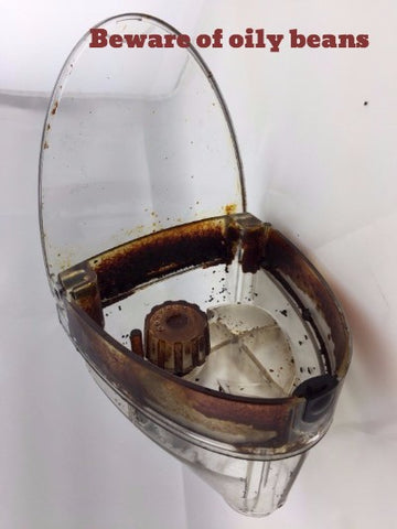 A sticky brew unit which is a result of using oily coffee beans