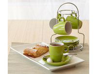Lime Green and White Espresso Cups With Stand