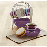 Purple striped Espresso Cups with Stand