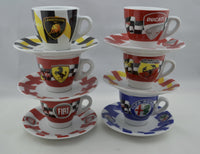 Autosport Espresso Cups--set of 6 cups and saucers