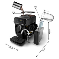 Philips Saeco 2200 Series Superautomatic Espresso Machine Classic Milk Frother Black EP2220/14