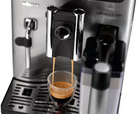 Close up of coffee dispenser of Saeco Exprelia Evo Black HD8855/47.