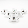 Set of six Italian cards espresso cups