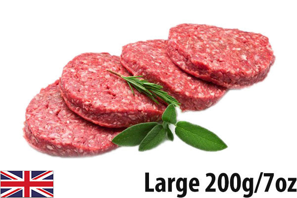Fresh Beef Steak Burgers LARGE - (4 per 800g pack =200g/7oz each)