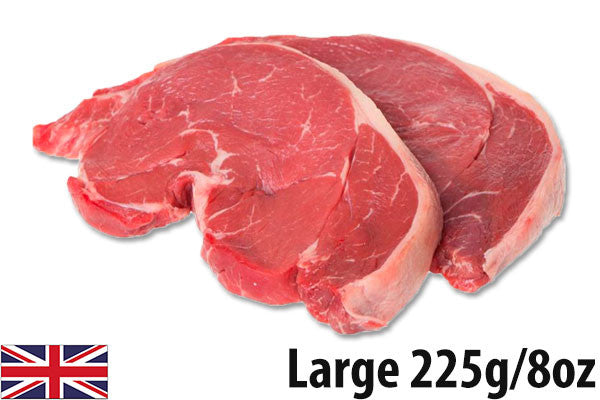 Fresh Beef Rump Steaks LARGE - (4 per 900g pack = 225g/8oz each)