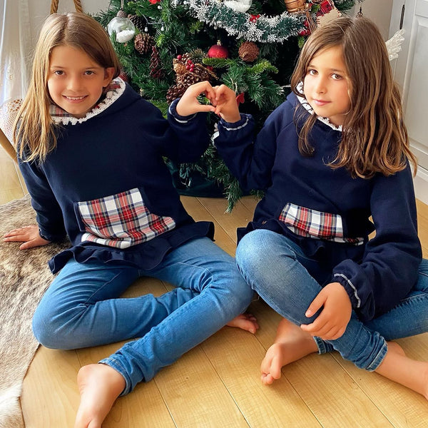 Sweatshirt Girl Blue & Tartan