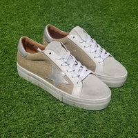 Tenis April Hi Rafia Laminated Silver & Leather Silver Star