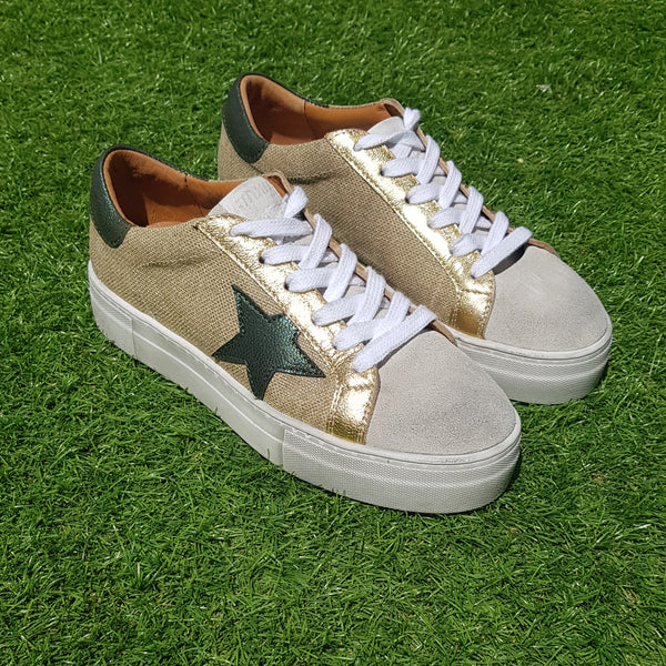 Tenis April Hi Rafia Laminated Gold & Green Leather Star