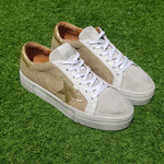 Tenis April Rafia Laminated Gold & Gold Leather Star