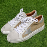 Tenis April Rafia Laminated Silver & Leather Silver Star