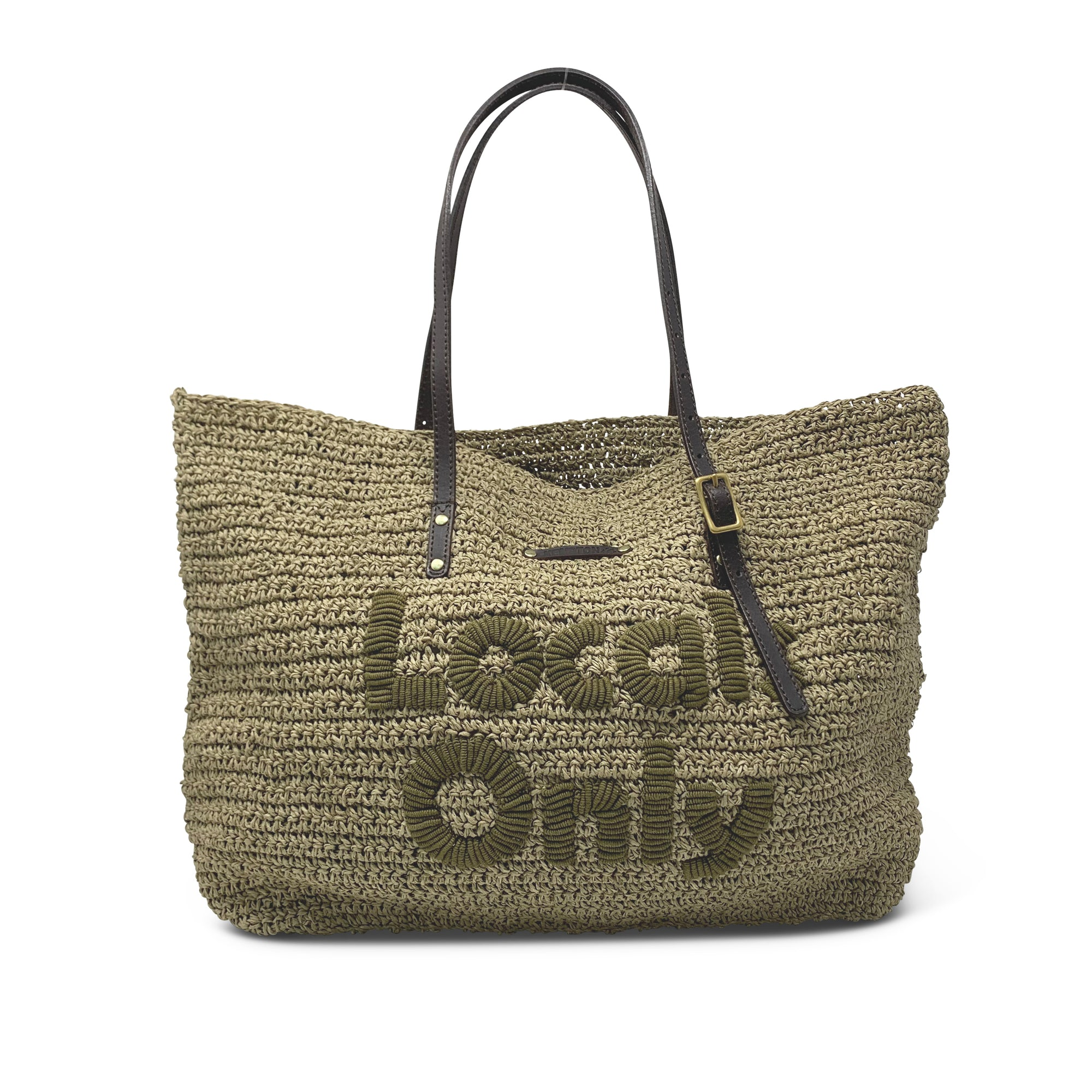 LOCALS ONLY CROCHET TOTE NATURAL/ OLIVE